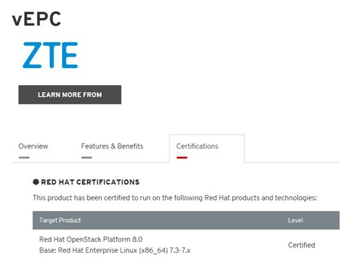 ZTE vEPC passed Red Hat Certification